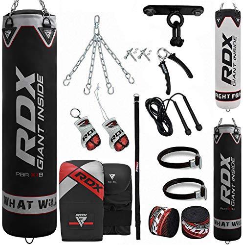 RDX 13PC Boxsack 5ft 4ft und Boxhandschuhe Set, Gefüllt Erwachsene Sack mit Deckenhaken, Kette für Boxen, Kampfsport Kickboxen, Muay Thai, MMA Training, Punchingsäcke Handschuhe (MEHRWEG)