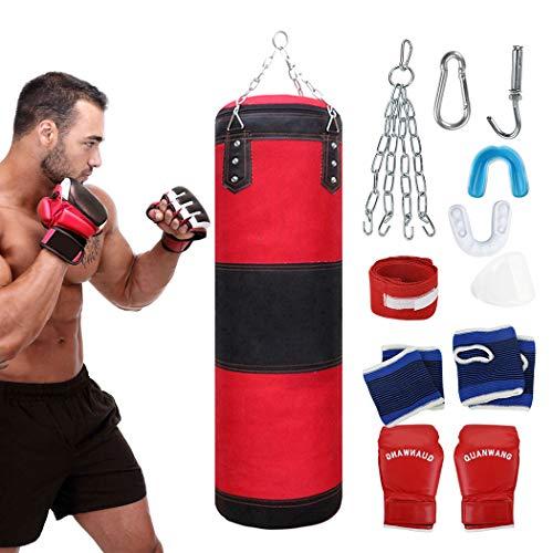 Fansport 11 PCS Boxsack-Set, Box-Set mit Boxhandschuhen Boxbandagen und Tasche, Mundschutz