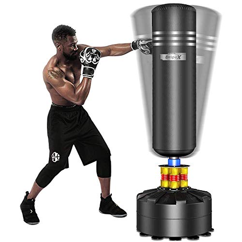 Dripex Boxsack Erwachsene Freistehender Standboxsack MMA Boxpartner Boxing Trainer Heavy Duty Boxsack mit Saugfuß (Schwarz)