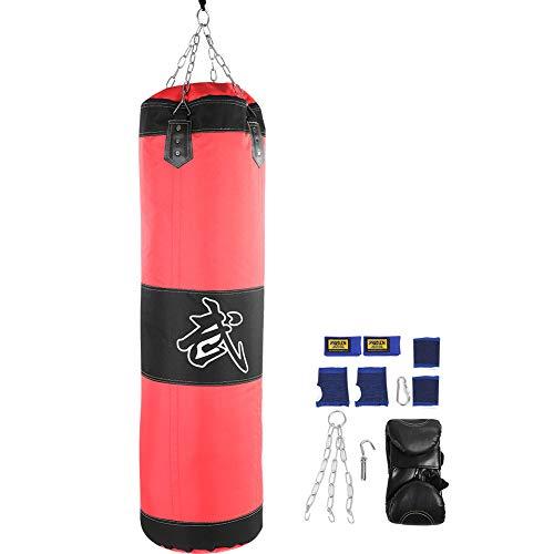 VGEBY1 Sandsack Set, 7 + 1 Sandsack mit leeren Haken und Handschuhen für das Training(60CM-rot)